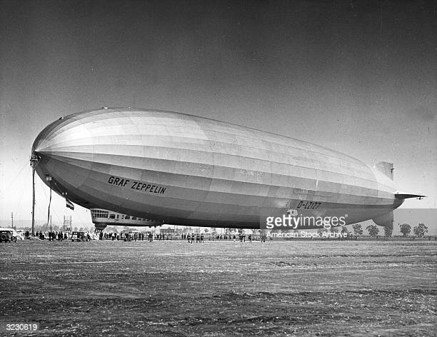 Spectators gather around the Graf Zeppelin during its roundtheworld trip