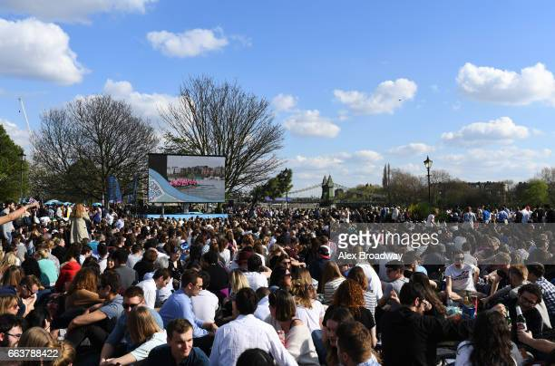 Spectators gather near Hammersmith Bridge prior to The Cancer Research UK Boat Race on April 2 2017 in London England