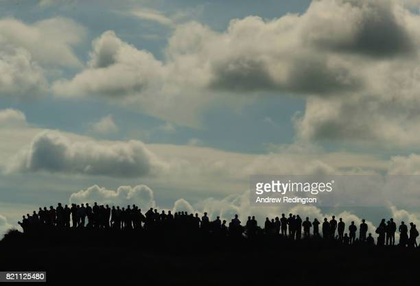 Spectators gather on top of a dune on the 8th hole during the final round of the 146th Open Championship at Royal Birkdale on July 23 2017 in...