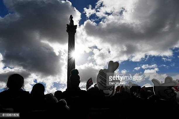 Spectators gather prior to the Olympics Paralympics Team GB Rio 2016 Victory Parade at Trafalgar Square on October 18 2016 in London England