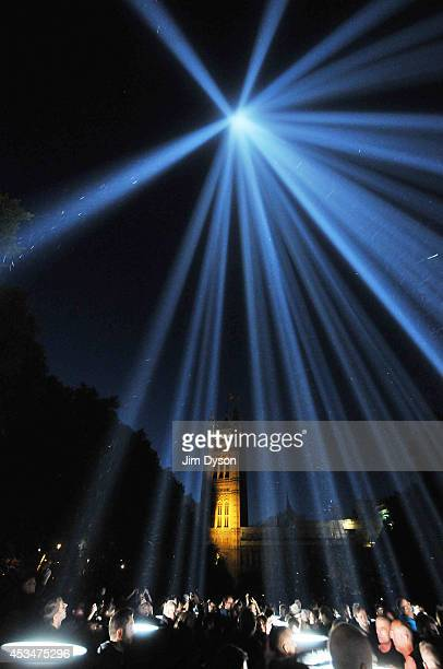 Spectators gather to look at the light installation 'Spectra' by Ryoji Ikeda as part of a series of 1418 NOW events to commemorate the centenary of...
