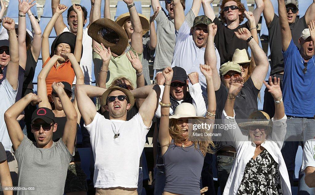 Spectators in crowd celebrating : Foto stock