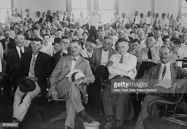 Spectators in the courtroom in Dayton TN here to view the trial of John T Scopes on trial for breaking the antievolution laws of Tennessee by...