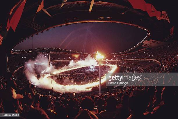 Spectators in the Olympic Stadium watch the Closing Ceremony of the XXIV Summer Olympic Games on 1 October 1988 at the Seoul Olympic Stadium in...