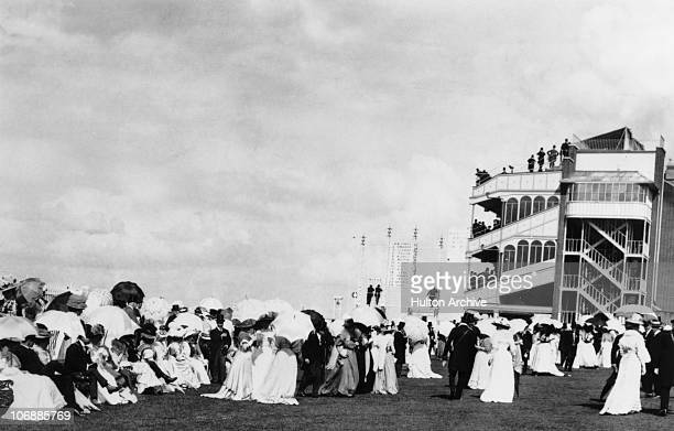 Spectators in the paddock during the Royal Ascot race meeting at Ascot Racecourse Berkshire 1908