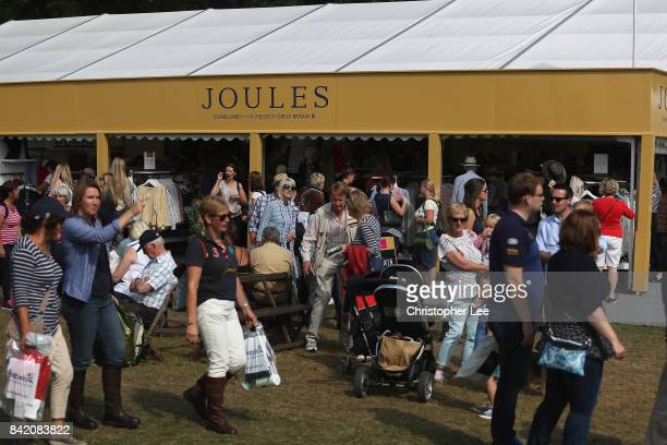 Spectators in the shopping village during Day Three of The Land Rover Burghley Horse Trials 2017 on September 2 2017 in Stamford England
