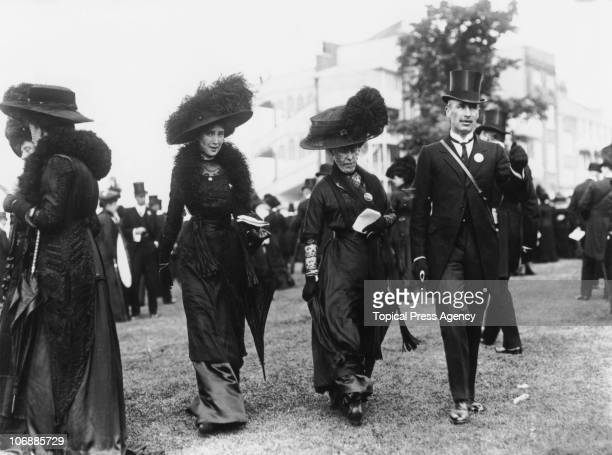 Spectators including the Marchioness of Camden at the Royal Ascot race meeting at Ascot Racecourse Berkshire June 1910