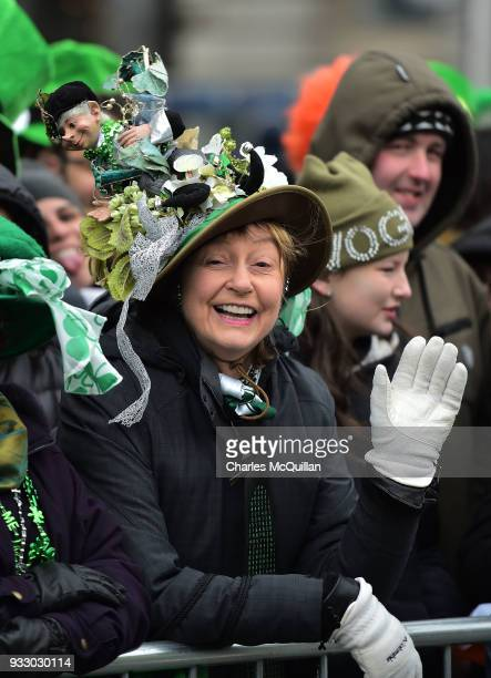 Spectators join in the fun as the annual Saint Patrick's day parade takes place on March 17 2018 in Dublin Ireland Dublin hosts the largest Saint...