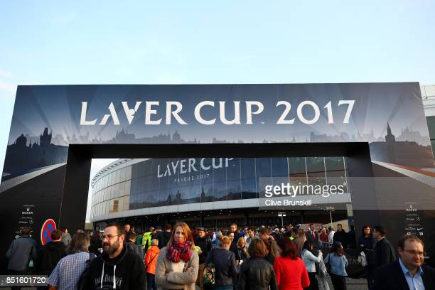 Spectators leave to 02 Arena Prague on the first day of the Laver Cup on September 22 2017 in Prague Czech Republic The Laver Cup consists of six...