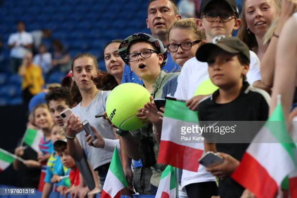 Spectators line up for autographs following the doubles match between Team Italy and Team Norway on day three of the 2020 ATP Cup Group Stage at RAC...