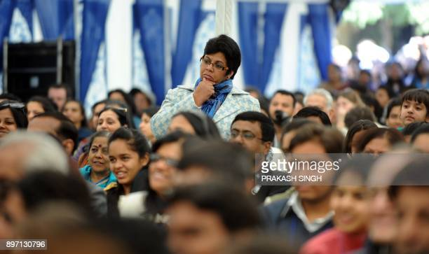Spectators listens to Indian author Chetan Bhagat speak during DSC Jaipur Literature Festival in Jaipur on January 21 2012 Indian police examined...