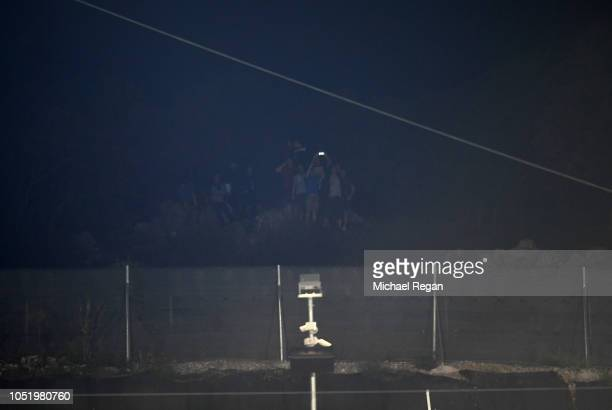 Spectators look into the stadium vantage point during the UEFA Nations League A Group Four match between Croatia and England at Stadion HNK Rijeka on...