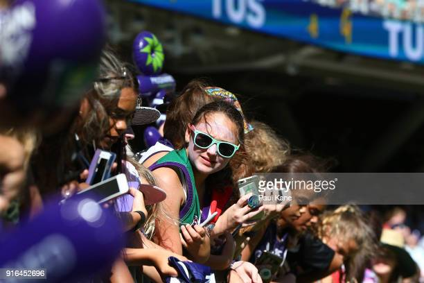 Spectators look on before the round two AFLW match between the Fremantle Dockers and the Collingwood Magpies at Optus Stadium on February 10 2018 in...