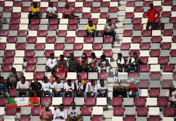 Spectators look on during day one of 17th IAAF World Athletics Championships Doha 2019 at Khalifa International Stadium on September 27, 2019 in...