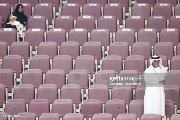 Spectators look on during day six of 17th IAAF World Athletics Championships Doha 2019 at Khalifa International Stadium on October 02 2019 in Doha...