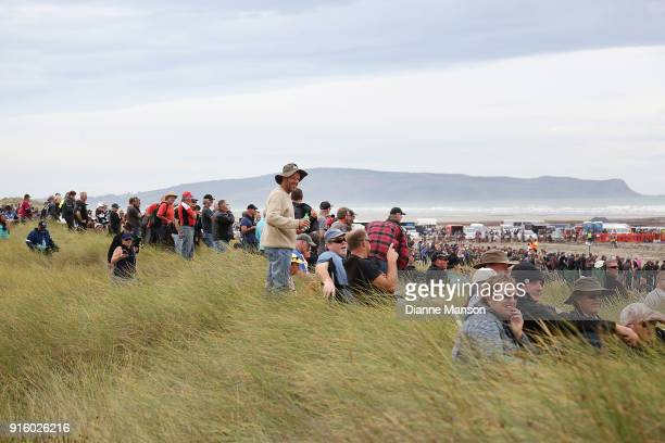 Spectators look on during the Indian Motorcycle NZ Beach Racing Champs at Oreti Beach on February 9 2018 in Invercargill New Zealand