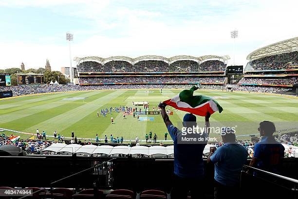 Spectators look on during the singing of the anthems during the 2015 ICC Cricket World Cup match between India and Pakistan at Adelaide Oval on...