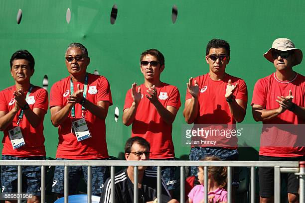 Spectators look on during the singles bronze medal match between Kei Nishikori of Japan and Rafael Nadal of Spain on Day 9 of the Rio 2016 Olympic...