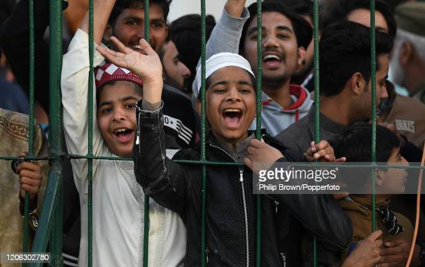 Spectators look on during the T20 match between an MCC team and Lahore Qalandars at Gaddafi stadium on February 14, 2020 in Lahore, Pakistan.