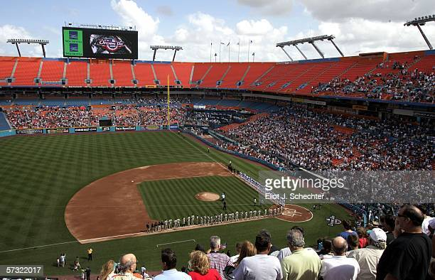 Spectators look out onto the field prior to the start of the San Diego Padres and the Florida Marlins game on April 11, 2006 at Dolphins Stadium in...