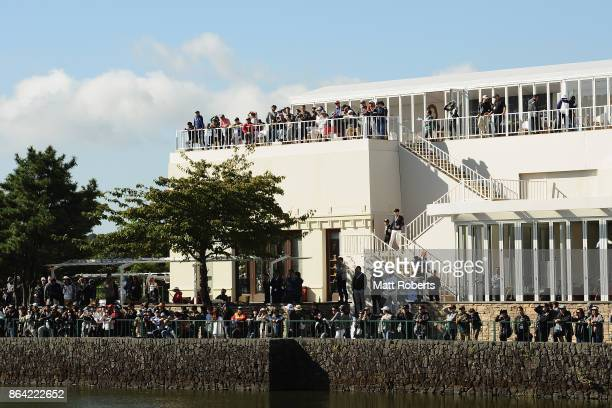 Spectators looks on during the third round of the CJ Cup at Nine Bridges on October 21 2017 in Jeju South Korea