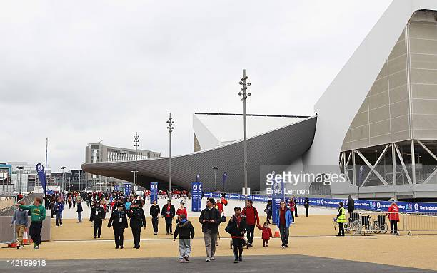 Spectators make their way into the Olympic Park during the National Lottery Olympic Park Run at Olympic Stadium on March 31, 2012 in London, England.