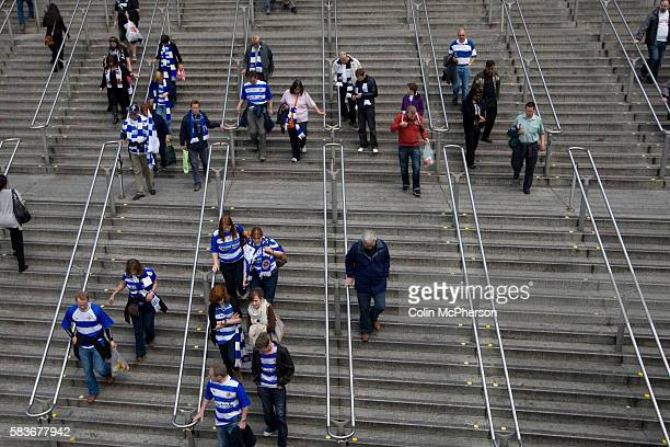 Spectators making their way down the stairs at Wembley Park London Underground station en route to the Npower Championship playoff final between...