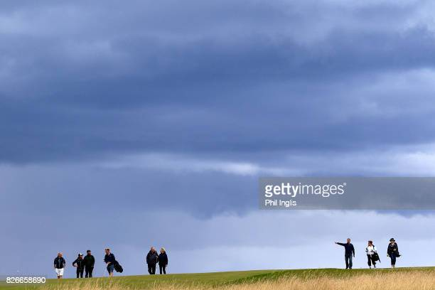 Spectators on the 13th hole during the second round of the Scottish Senior Open at The Renaissance Club on August 5 2017 in North Berwick Scotland