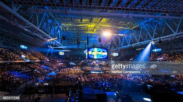 30000 spectators prepare for the main event between Anthony Johnson of the United States and Alexander Gustafsson of Sweden during the UFC Fight...