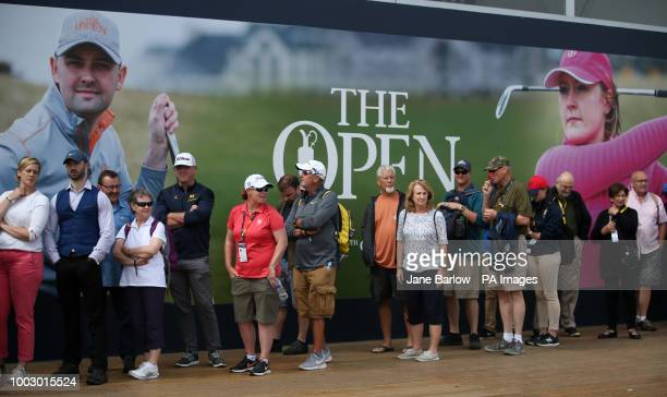 Spectators queue to get into the club shop during day three of The Open Championship 2018 at Carnoustie Golf Links Angus