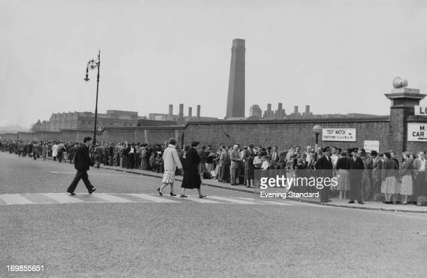 Spectators queuing outside Lord's Cricket Ground London on the last day of the 2nd Test between England and the West Indies 22nd June 1957 England...