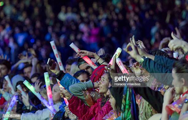 Spectators react during Ivete Sangalo show on the fourth day of Rock in Rio Lisbon on May 28 2016 in Lisbon Portugal Ivete Sangalo is a Latin Grammy...
