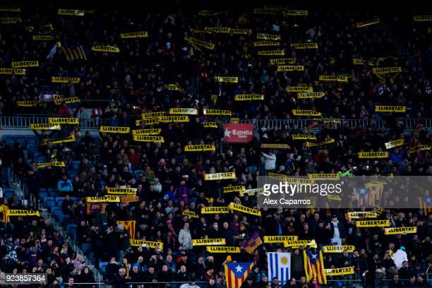 Spectators show banners with the word 'Llibertat', 'Freedom' in catalan, in support of imprisoned Catalan independentist leaders during the La Liga...