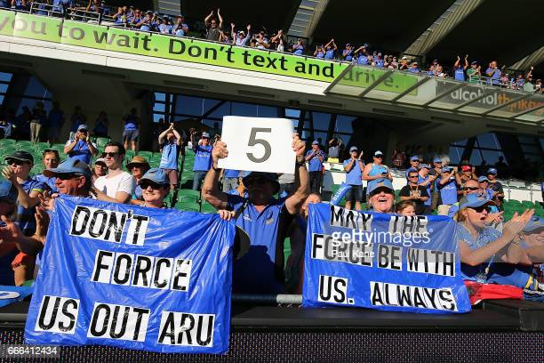 Spectators show their support after winning the round seven Super Rugby match between the Force and the Kings at nib Stadium on April 9 2017 in Perth...