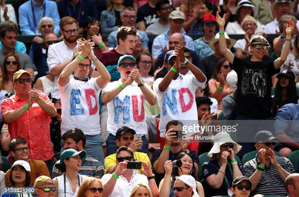 Spectators show their support to Kyle Edmund of Great Britain in his Men's Singles second round match against Fernando Verdasco of Spain during Day...