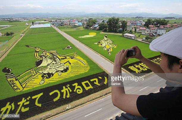 Spectators take photographs of historical figures of Ushiawkamaru and Benkei on August 3 2010 in Inakadate Aomori Japan The art is created by...