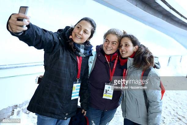 Spectators taking selfies during the first run of the 4man Bobsleigh BMW IBSF World Cup at Deutsche Post Eisarena Koenigssee on January 29 2017 in...
