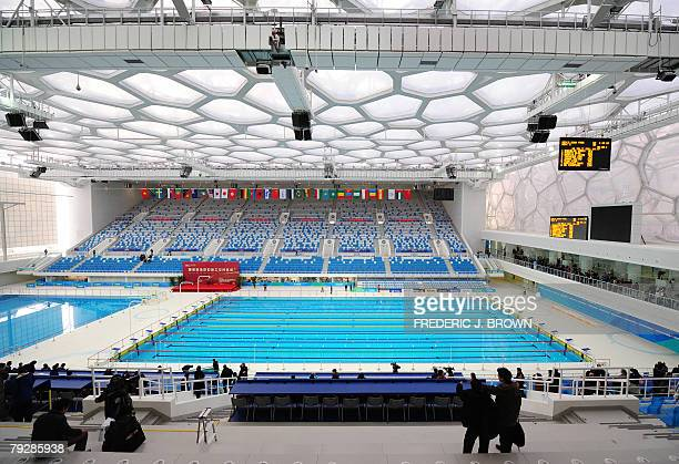 A spectator's view of the pool 28 January 2008 as China unveiled its National Aquatics Centre the blue bubblewrapped structure better known as the...