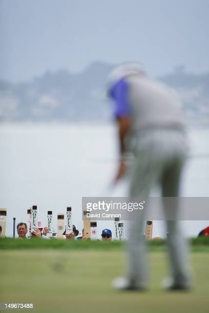 Spectators view the action on the greens through periscopes during the 92nd US Open Golf tournament on 21st June 1992 at the Pebble Beach Golf Links...