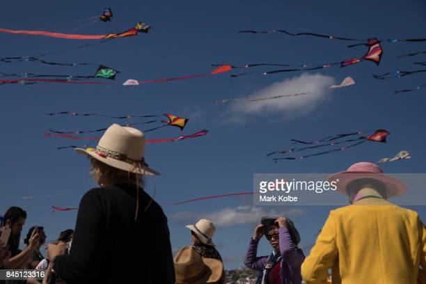 Spectators view the kites flying during the Festival of the Winds in Bondi at Bondi Beach on September 10 2017 in Sydney Australia Festival of the...