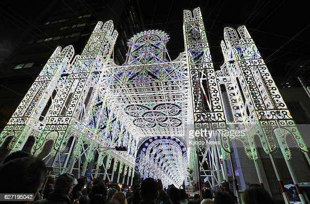 Spectators visit the Kobe Luminarie light festival held to commemorate victims of the 1995 Great Hanshin Earthquake in the western Japan port city of...