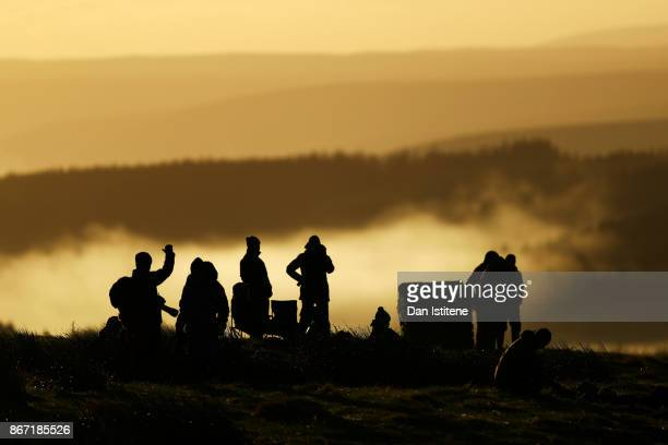 Spectators wait for the start of day one of the FIA World Rally Championship Great Britain on October 27 2017 in Myherin Wales