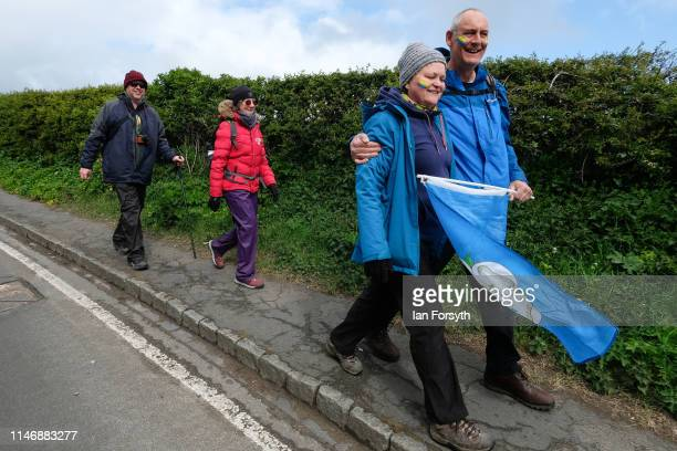 Spectators walk down Lythe bank during Stage 2 of the Women's race of the Tour de Yorkshire cycling race on May 04 2019 in Whitby England The tour...
