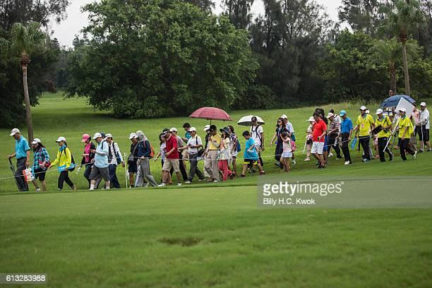 Spectators walks in the Fubon Taiwan LPGA Championship on October 8 2016 in Taipei Taiwan