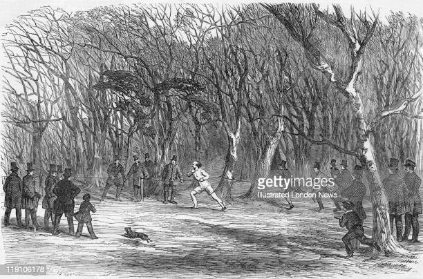Spectators watch a competitor in a cross-country race in Bayswater, London, February 1851. Original publication: Illustrated London News - Pub. 8th...