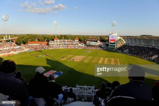 Spectators watch England v South Africa during the ICC world Twenty 20 super 8's cricket match at Trent Bridge Nottingham England on June 11 2009...