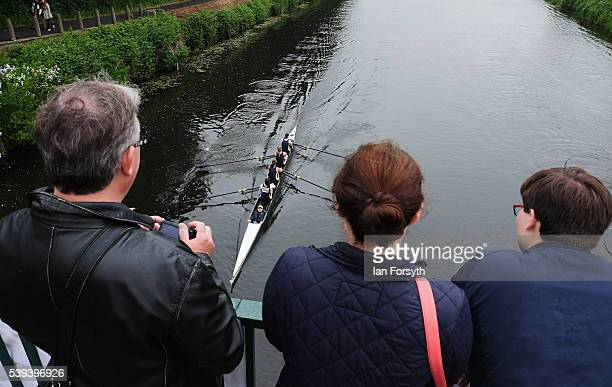 Spectators watch from a bridge as rowers from across the country take part in the 183rd annual regatta on the River Wear on June 11 2016 in Durham...
