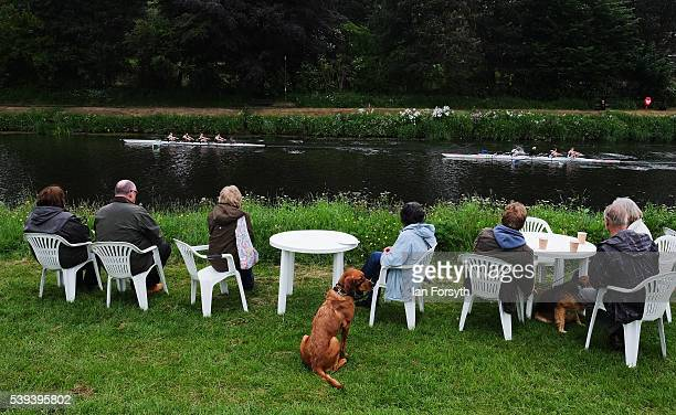 Spectators watch from the riverbank as rowers from across the country take part in the 183rd annual regatta on the River Wear on June 11 2016 in...