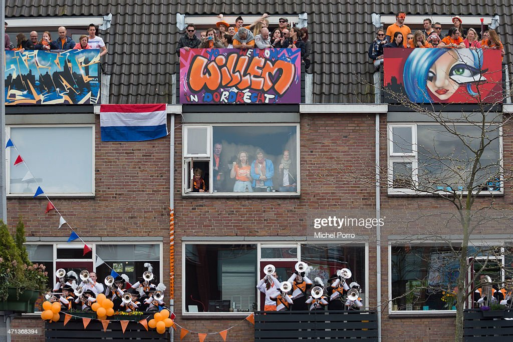 Spectators watch King's Day celebrations on April 27, 2015 in Dordrecht, Netherlands.