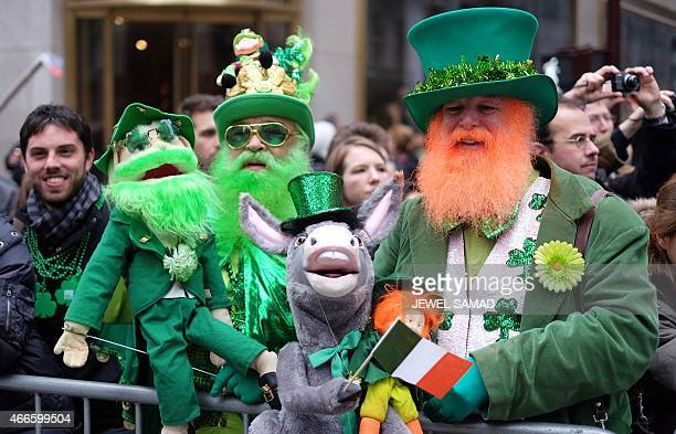 Spectators watch marchers during the St Patrick's Day parade in New York on March 17 2015 AFP PHOTO/JEWEL SAMAD